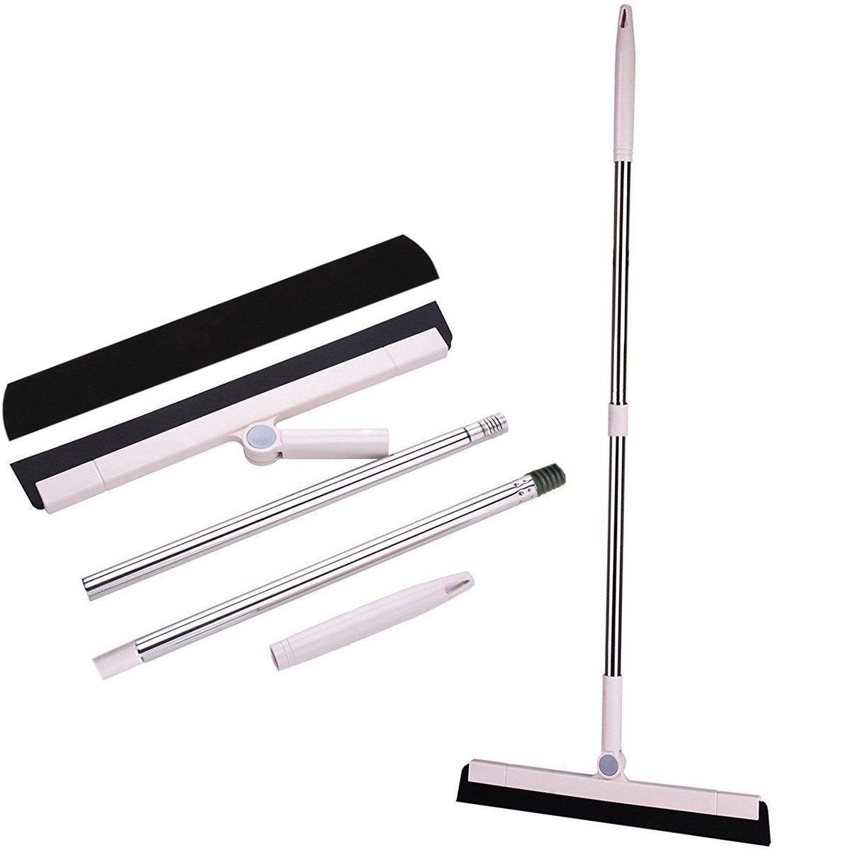 MEIBEI Floor Squeegee with Long Handle -39.4'', Multi-Surface Natural Foam Floor Broom with Squeegee, Water and Pet Hair Removal, Window Cleaning, One More Squeegee Blade for Free
