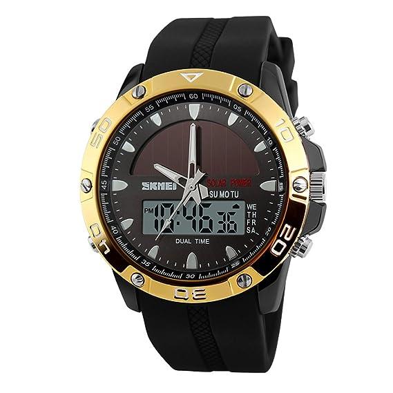 CursOnline® Elegante Reloj de pulsera digital cuarzo analógico Skmei para Hombre y Niño, Solar, multifunción, luz LED, cronómetro, dual time, Despertador.