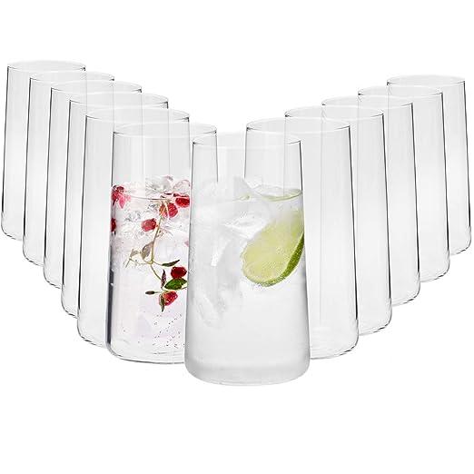 Krosno Grande Vasos de Agua Highball | Set 12 Piezas | 540 ML | Avant-Garde Collection Uso en Casa, Restaurante y en Fiestas | Apto para Microondas y ...