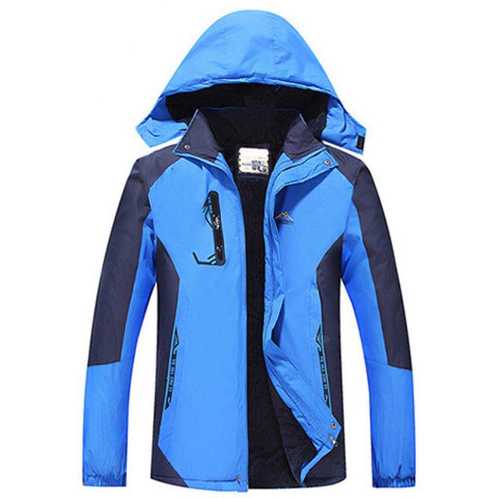 Ellymi Men's Water-Resistant Hooded Thickened Insulated Quilted Coat Heavy Padded Winter Windproof Parka Anorak Jacket Blue by Ellymi