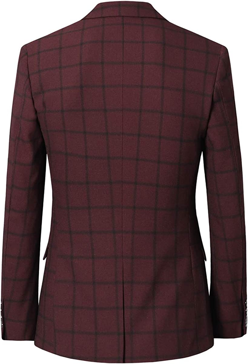 Cloudstyle Mens 2 Piece Checkered Formal Suit Slim Fit 2 Buttons Tux Dress Outfit Purplish Red