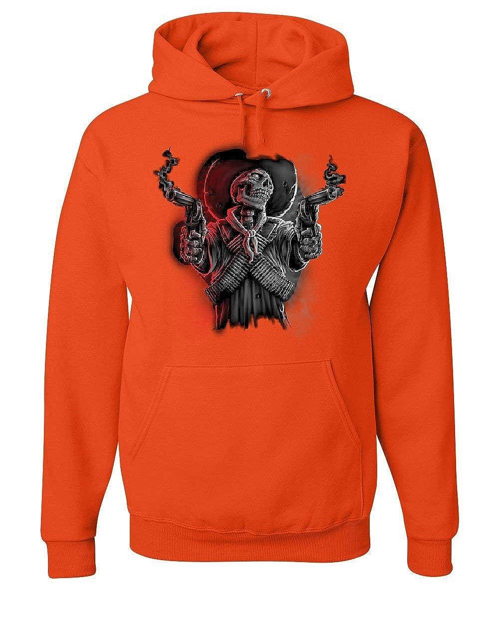 Tee Hunt Skeleton Bandit Hoodie Death Sheriff Wild West Revolvers Cowboy Sweatshirt