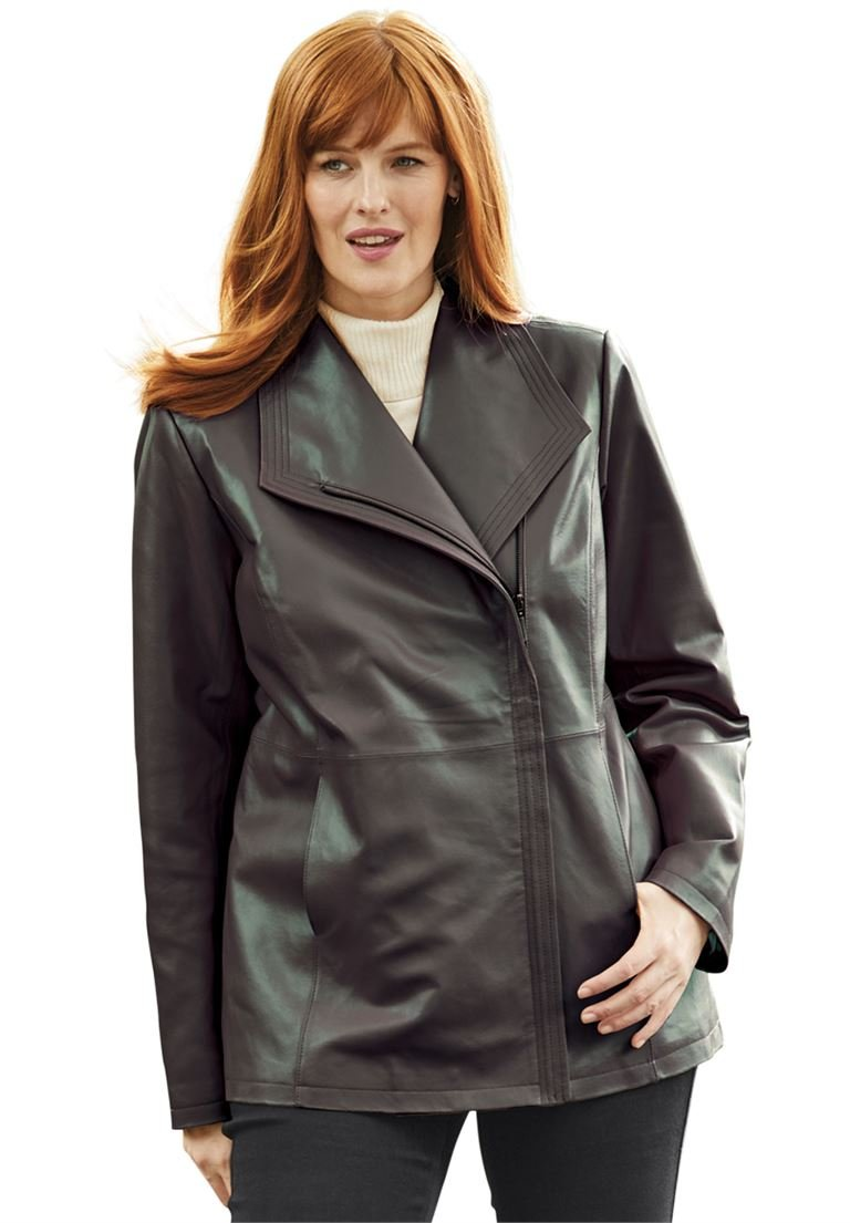 Jessica London Women's Plus Size Leather Jacket With Oversized Wing Collar by Jessica London