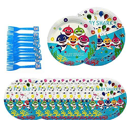 Vajilla desechable cumpleaños infantil 48 Piezas Baby Shark Party vajilla desechable fiesta(16 pcs Grande Bandeja de Papel,16 pcs Pequeño Bandeja de ...
