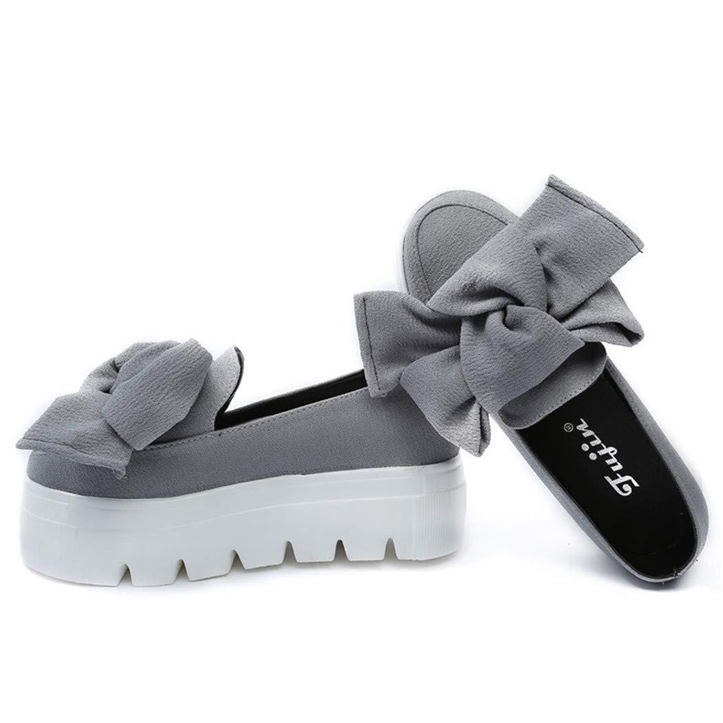 Goupos Slip On Platform Loafers for Women Flats Shoes Bow Flats Loafer Slip On Platform