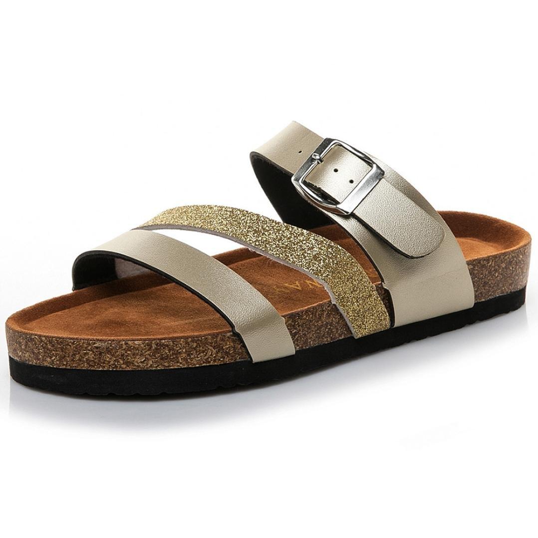 Femme Sandales Plates Compensees CompenséE Chaussures ete Cross Toe Strap Sandales Plates Plage à Semelle éPaisse Pantoufles De Paillettes