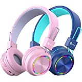 [2 Pack] iClever BTH03 Kids Wireless Headphones - Colorful Lights Headphones for Kids with MIC, Volume Control Online Schooli