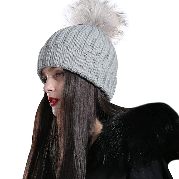 5d843dfc84c CACUSS Women s Winter Soft Fur Pom Pom Beanie Hat Warm Cable Knitted Thick  Ski Caps Skull