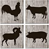 Nachic Wall - Farm Animals Wall Art Pig Cow Sheep Rooster Silhouette Art Prints Set of 4 Rustic Wooden Style Animal Prints Vintage Farm House Decor Stretched and Framed Ready to Hang