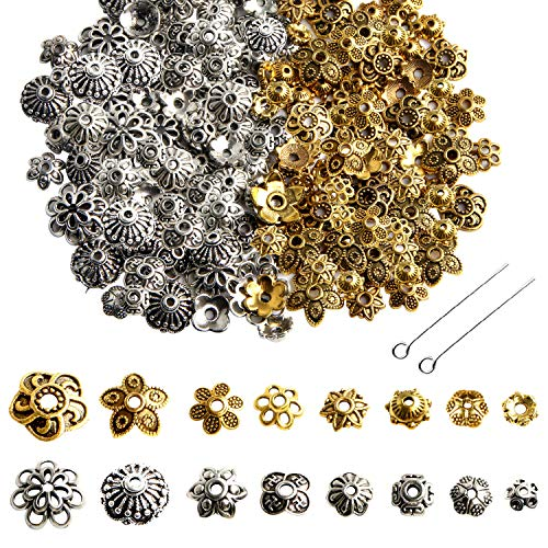 Jewelry Making Metal Bead Caps - 160 Pcs Bali Style Mixed Tibetan Silver Gold Bead Caps Spacers Flower Jewelry Findings Accessories for Bracelet Necklace Jewelry Making