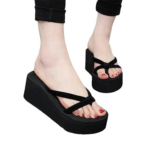 89b4d4749 Jeff Tribble Summer Wedges Women Slip Flip Flops Beach Sandals Fashionable  Casual Shoes Black 10