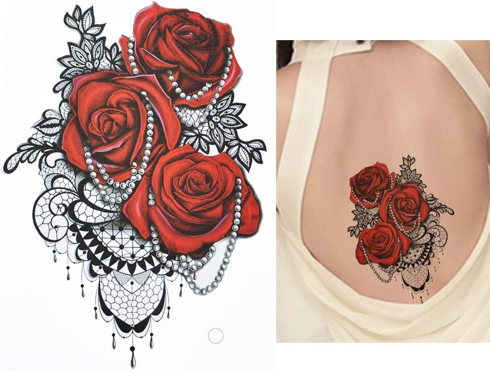 Elegante Rosas Flores Tattoo Rojo y Negro Flash Tattoo Fake Tattoo ...