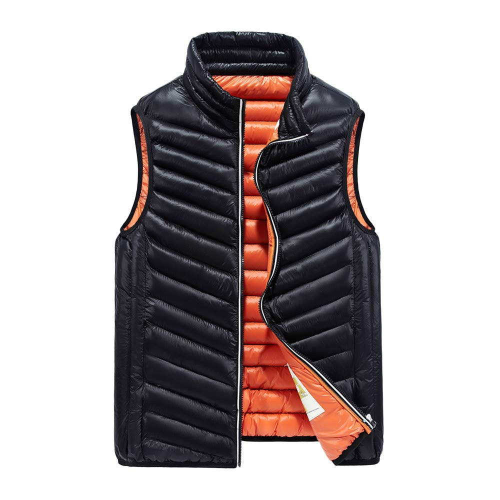 426afda836a9 Amazon.com   Haluoo Men s Outdoor Casual Stand Collar Padded Vest Coats  Winter Thick Warm Sleeveless Jacket Down Gilet Outwea   Sports   Outdoors