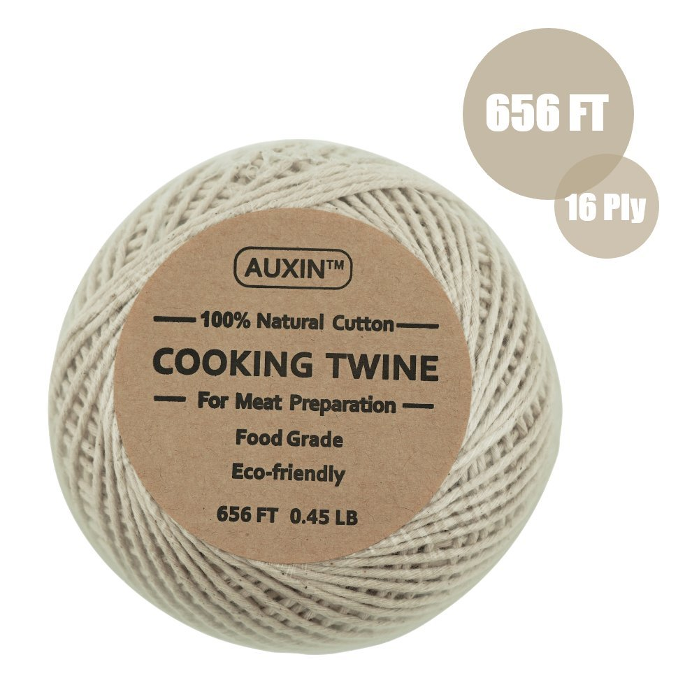 AUXIN,Natural Cooking Twine [656ft][0.45lb][16ply],Durables Butchers Twine,Meat preparation,Food Packaging String,DIY Craft Decoration,Kitchen Accessories