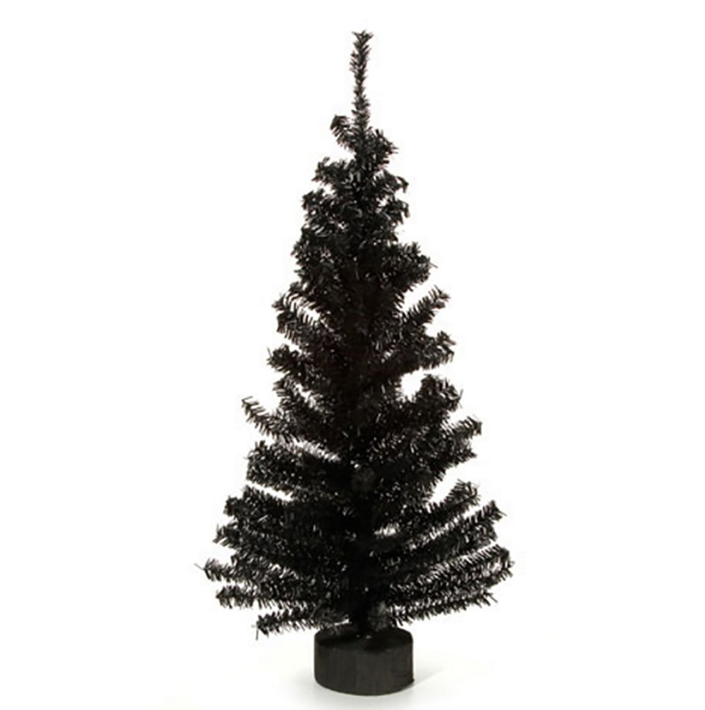 RetailSource Canadian Pine Tree with Wood Look Base 148 Tips 61 cm Black 1 Pack