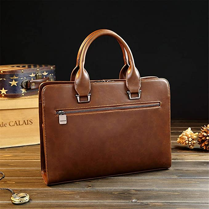 Zhouminli Vintage Leather Tote Briefcase Detachable Shoulder Strap Mens Casual Business Handbag Shoulder Bag Daily Work Bag