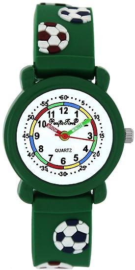 Pacific Time Niños Reloj De Pulsera Reloj de aprendizaje de fútbol analógico de cuarzo pulsera de silicona verde 202711: Amazon.es: Relojes