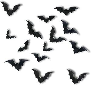 Halloween 3D Bats Decorations, Halloween Bat Wall Decor, 5 Different Sizes Realistic PVC Scary Bat Sticker for Home Decor DIY Window Decal Bathroom Indoor Halloween Party Supplies, 48Pcs, Black