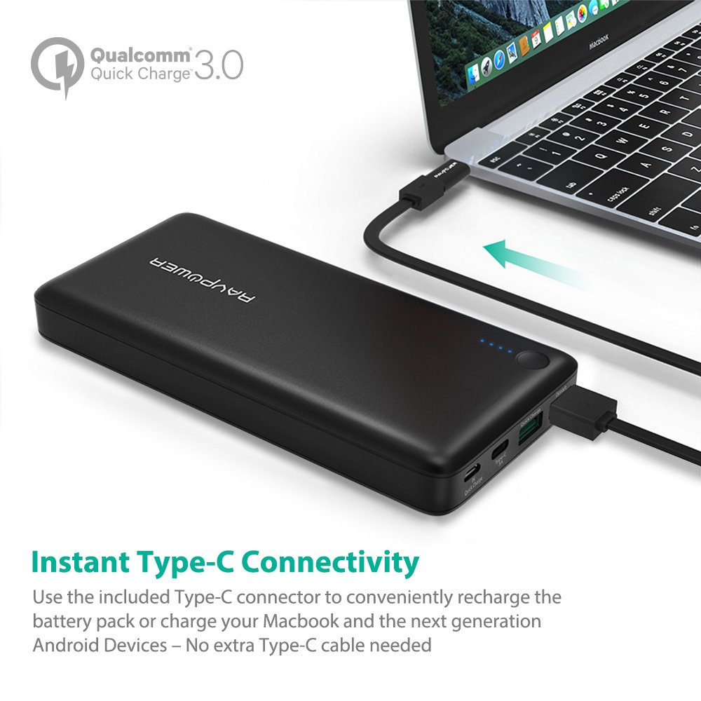 Amazon usb c power bank ravpower 20100 portable charger with amazon usb c power bank ravpower 20100 portable charger with qc 30 qualcomm quick charge 30 20100mah input output type c battery pack for nintendo sciox Gallery