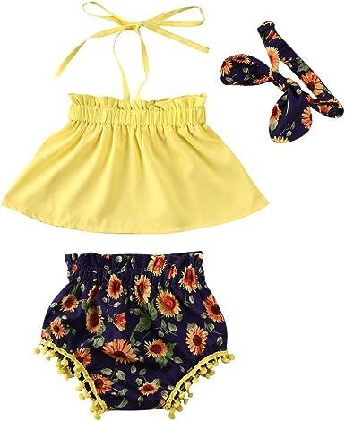 Newborn Infant Baby Girls Summer Short Set Floral Off-Shoulder Tops Pants Set Clothes Outfits