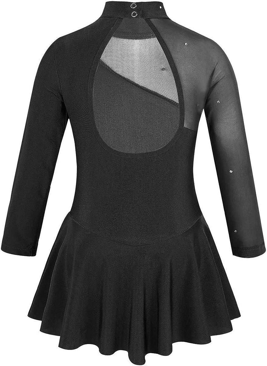 zdhoor Girls Glitter Long Sleeves Figure Ice Skating Dress Keyhole Back Ballet Dance Leotard Tulle Skirts