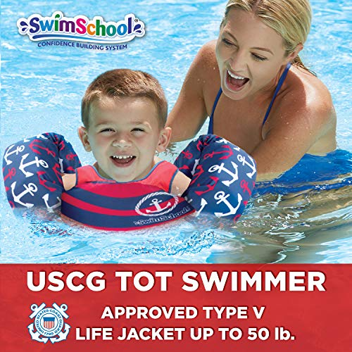 SwimSchool USCG Approved TOT Swimmer with Arm Floaties, Type V Life Jacket/PFD, Medium/Large, Navy/Red ()