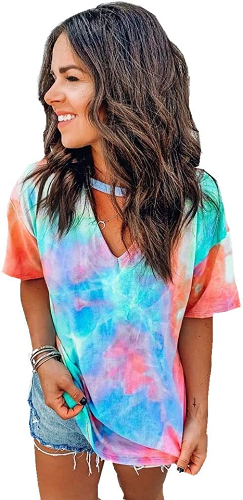 TTMOW Womens Tops Colorblock Gradient Tie Dye Shirts Short Sleeve Choker V Neck T-Shirt Summer Casual Blouse 61q8kkDQPgL