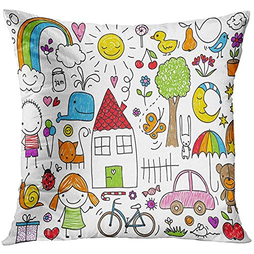 - Throw Pillow Cover Doodle Collection of Cute Children's Drawings Kids Animals Nature Objects Crayon Toy Decorative Pillow Case Home Decor Square 18x18 Inches Pillowcase