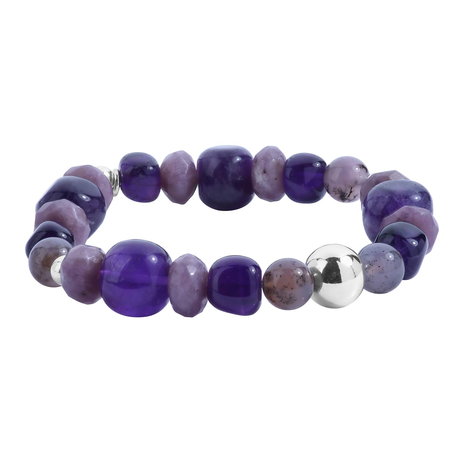 Carolyn Pollack Sterling Silver Lavender Chalcedony, Purple Amethyst and Lavender Jade Bead Stretch Bracelet Size S/M by Carolyn Pollack