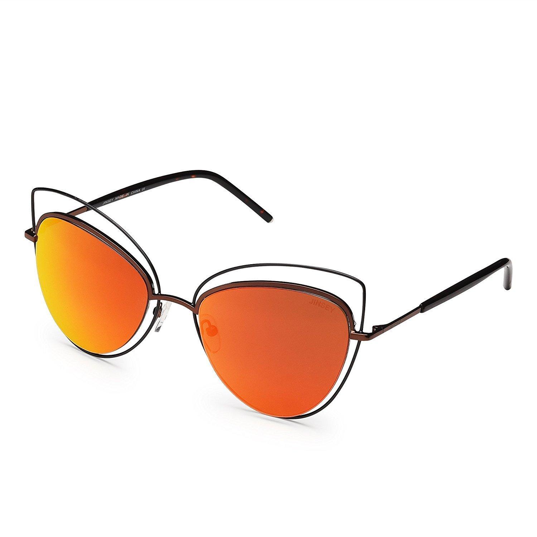 orange Women's Large 100% UV Predection Mirror CatEye Sunglasses