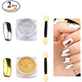 MLMSY 2 Box Mirror Powder Gold Silver Pigment Nail Glitter Nail Art Chrome with Matching Brushes(Silver+Gold,2Box)