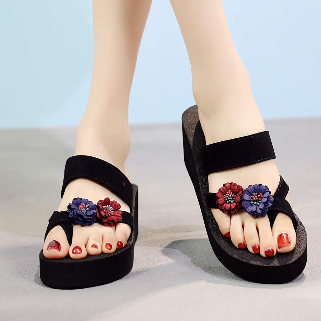 Womens Girls Wedges Slippers Shoes Jiayit Womens Summer Bohemian Clip Toe Flip Flops Non-Slip Wedges Slippers Beach Shoes