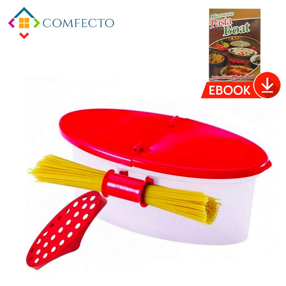 Microwave Pasta Cooker with Strainer, Food Grade Heat Resistant Pasta Boat Vegetable Steamer Spaghetti Noodle Cooker with Capacity Up to 5 Pound, No Mess, Sticking, or Waiting for Water to Boil by COMFECTO