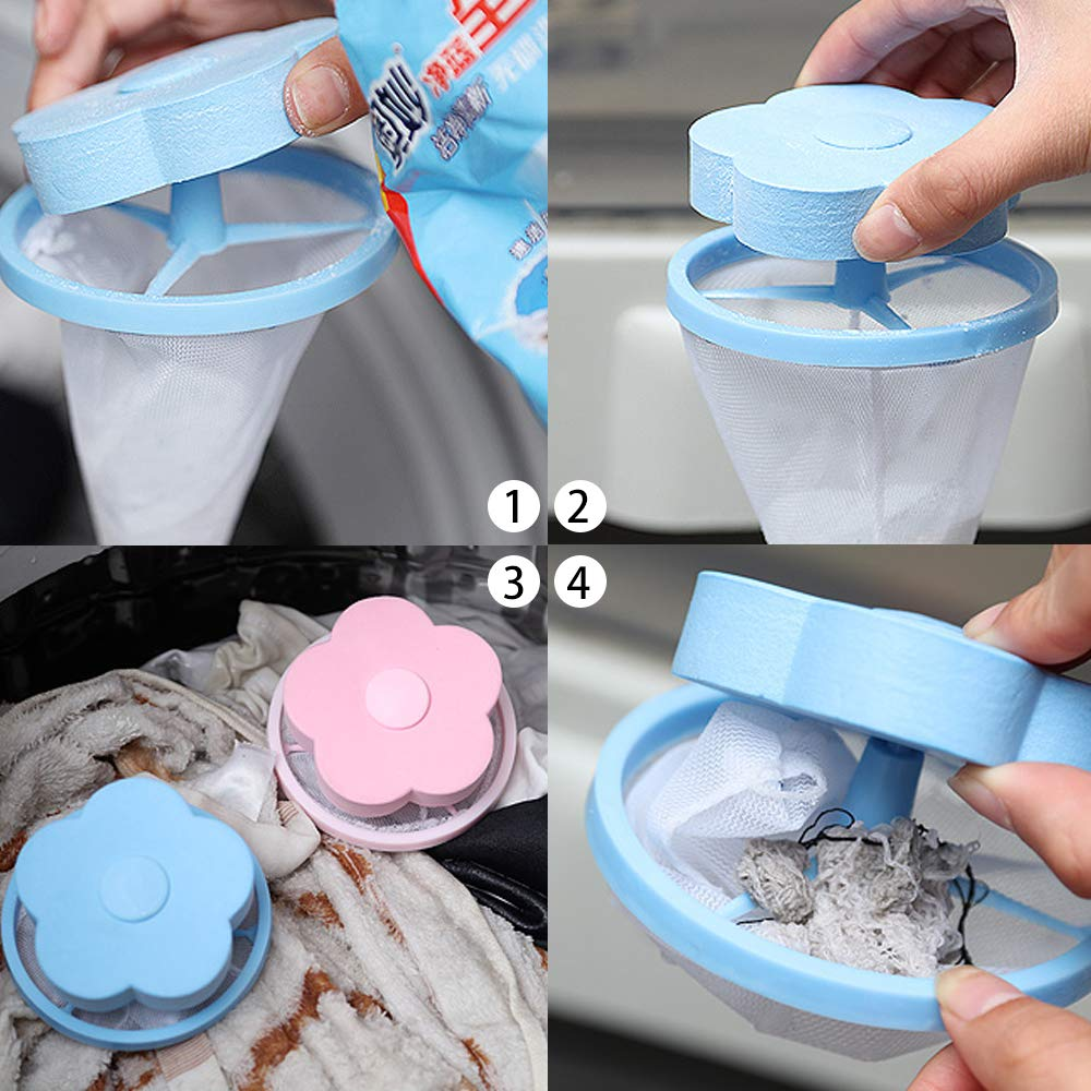Qoosea Washing Machine Floating Lint Hair Removal Clean Floating Filter Plum-shaped Foam Float Filter Bag Blue