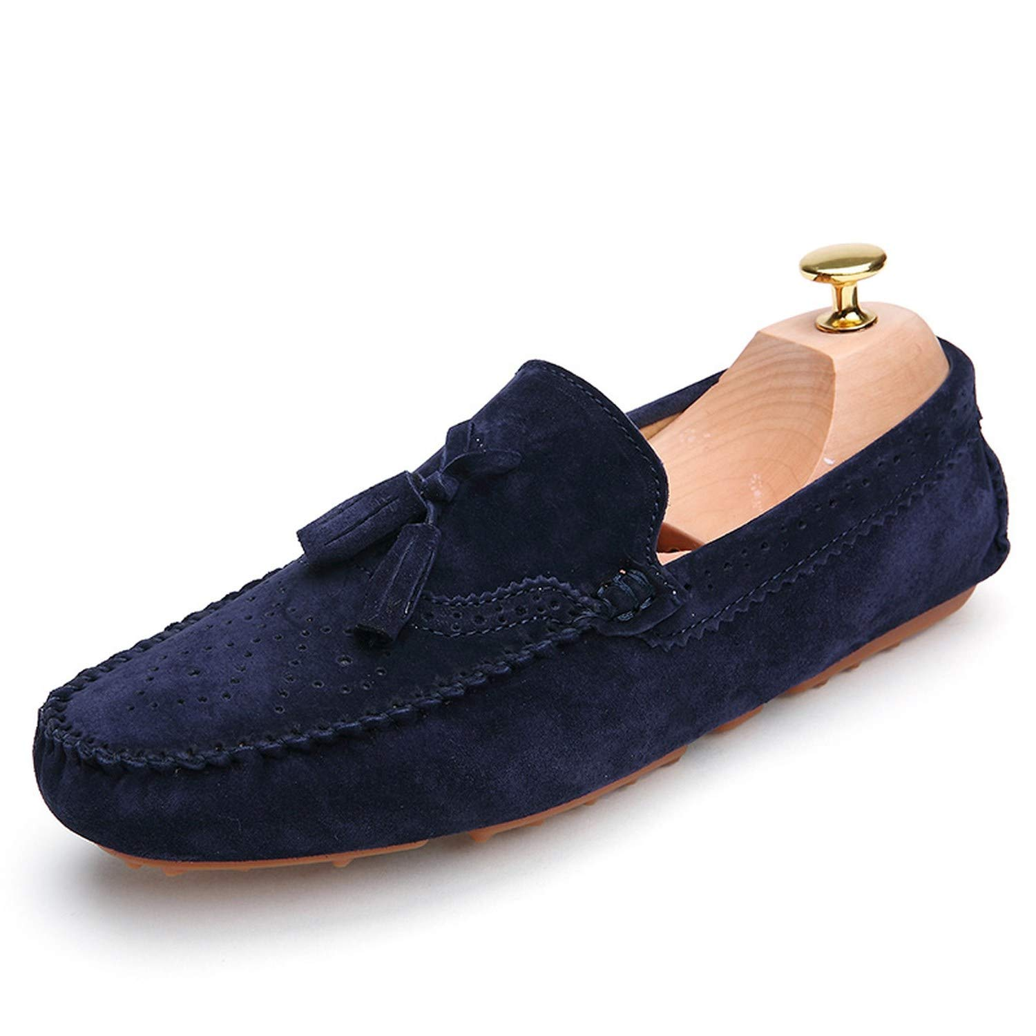 Men Loafers Navy Blue Genuine Leather Moccasins Slip On Tassel Casual Shoes Flats Moccasin Driving Shoes,Navy Blue,6.5
