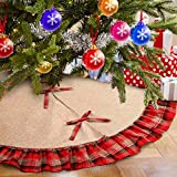 Aytai 48inch Plaid Christmas Tree Skirts Red and Black Edge, Burlap Tree Skirt for Holiday Christmas Decorations