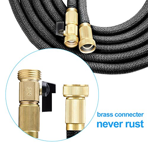 TIPEYE 50FT Expandable Garden Hose with 10 Functions Spray Nozzle 2017 Newest Stronger Double-Layer Natural latex Inner Tube Prevent Leaking 3/4 Expanding Solid Brass Water Hose Pipe