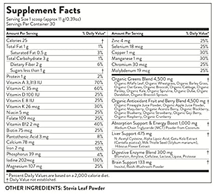Amazon.com: Suplemento verdes en polvo orgánico, 22 cruda y ...