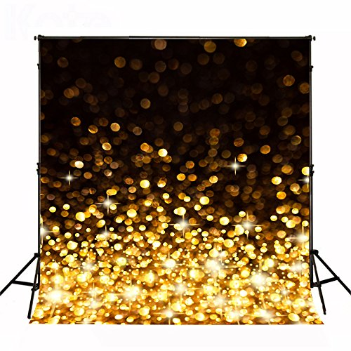 Kate 8x8ft Black and Gold Spot Backdrops Shining Spot Stage Background Party Decoration Photography Props ()