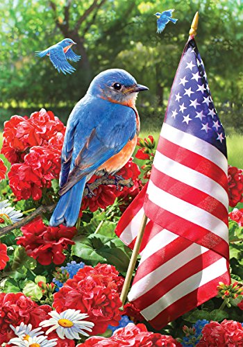 Bluebird Salute - Garden Size, 12 Inch X 18 Inch, Decorative Double Sided Licensed, Trademarked and Copyrighted Flag Printed IN USA by Custom Decor ()