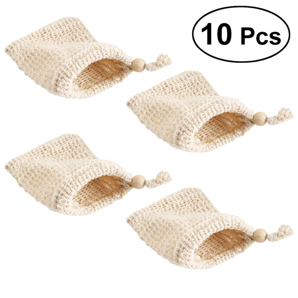 Lurrose 10PCS Exfoliating Mesh Soap Saver Pouch, Natural Sisal Soap Bag Bubble Foam Net Body Facial Cleaning Tool (Beige)