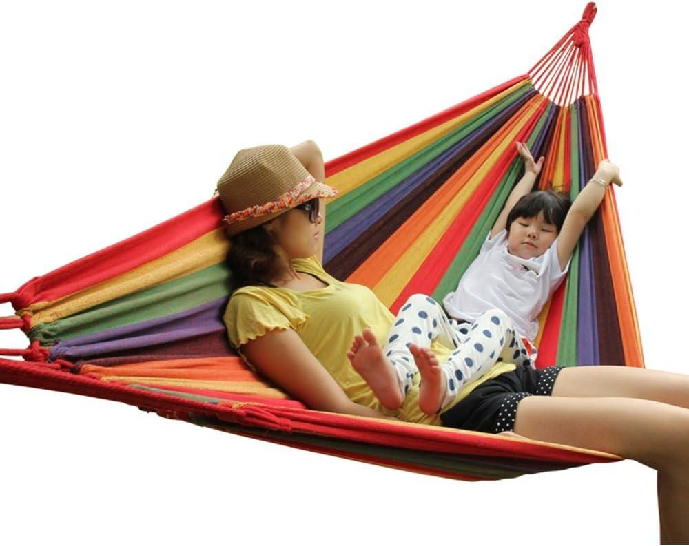 QFFL diaochuang Hamaca Lona de algodón Tejida densamente Hamaca Simple Hamaca portátil Hamaca de Ocio de Viaje para Adultos y al Aire Libre (Color : A)