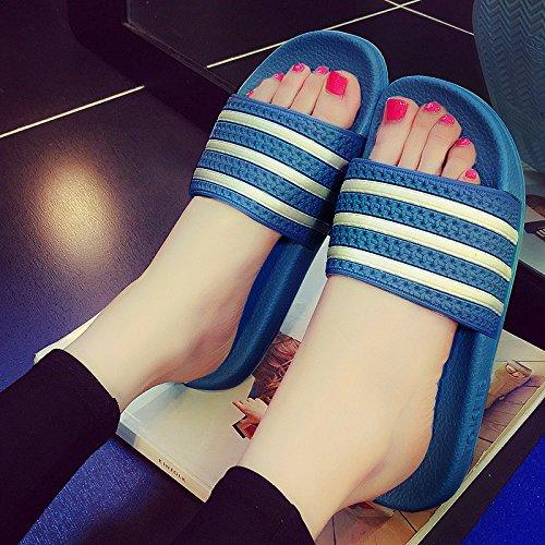 fankou Macho y Hembra de Verano Verano Zapatillas Baño con Bañera Antideslizante Zapatillas Encantadoras Parejas Rayas Estancia en Frío Pantuflas,39-40, un Azul Oscuro