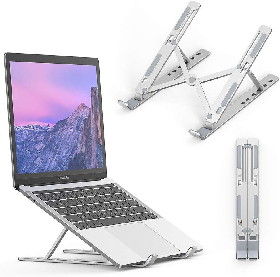 "Elekin Laptop Stand Portable MacBook Stand Foldable Aluminum Alloy Ventilated Notebook Riser Adjustable Six Eye-Level Ergonomic Laptop Riser for 10-15.6"" Notebook Thinkpad Tablet MacBook Pro/air"
