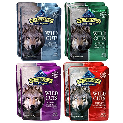 Blue Buffalo Trail Toppers Wild Cuts Variety Pack - 4 Flavors (8 Pouches) by RFG Distributing