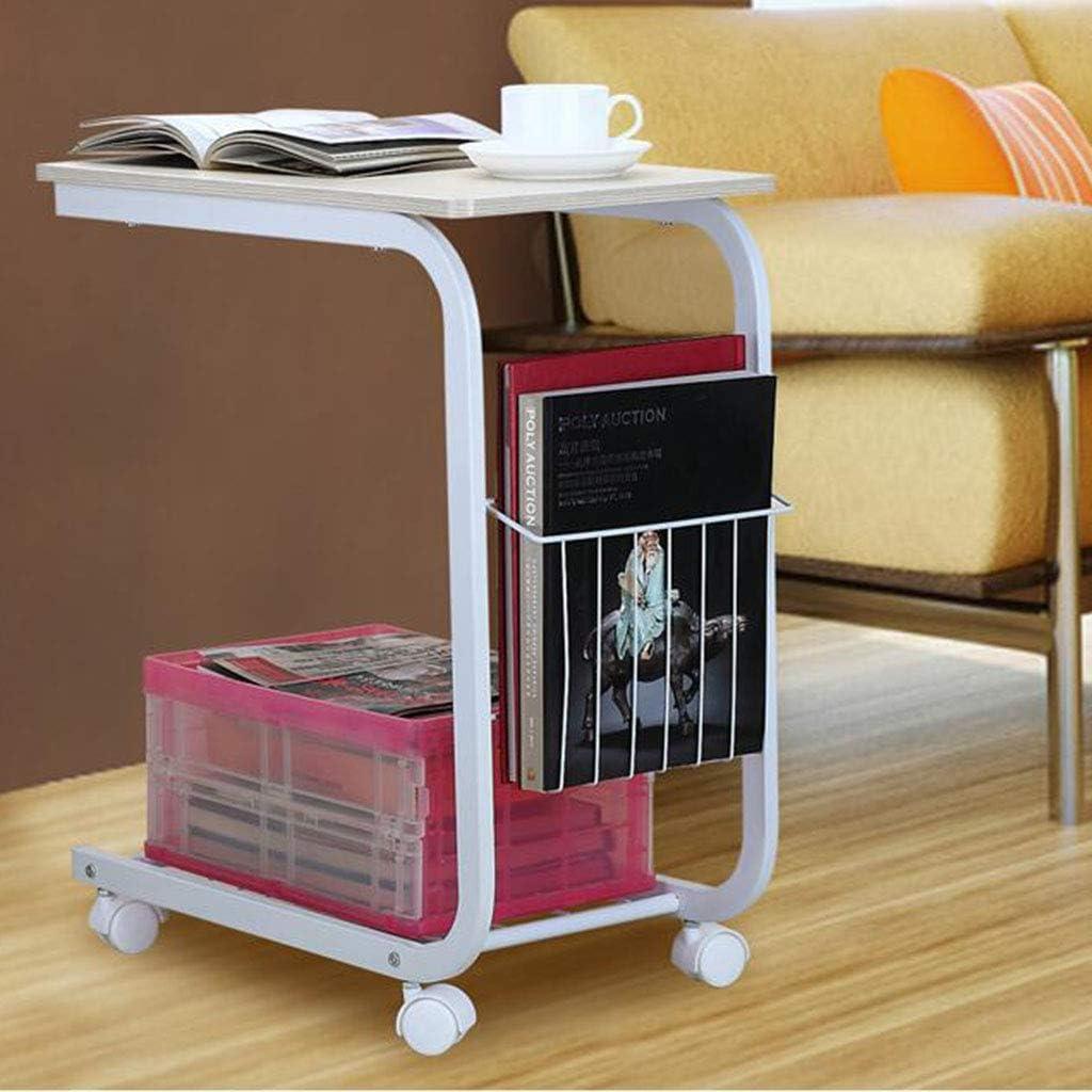 Mini table d\'appoint Mode Salon Canapé Coin Ordinateur Mobile CoffeeLeisure avec Poulie Double Étagère (50 * 30 * 60 cm) (Couleur : NOIR) Beige