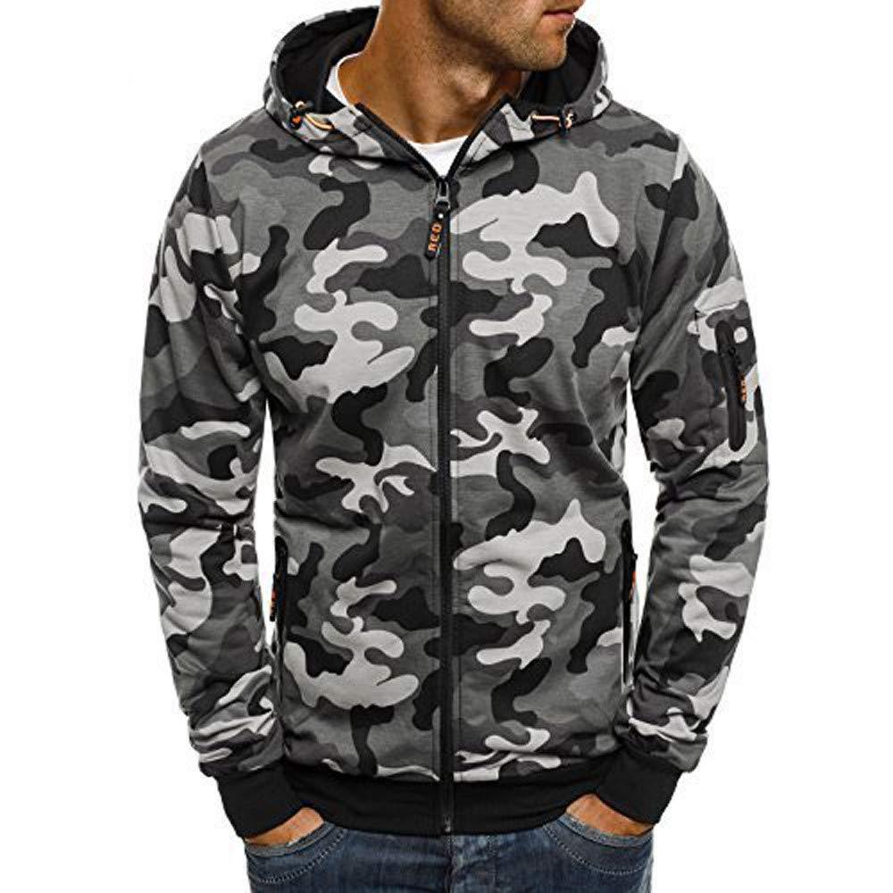 Beautyfine Mens Camouflage Hooded Sweatshirt Zipper Pullover Fashion Autumn Long Sleeve Tops Blouse
