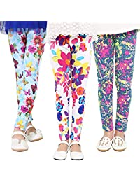 89a18ef9c 3-Pack Girl Pants Printing Flower Toddler Kids Classic Leggings 2-13Y