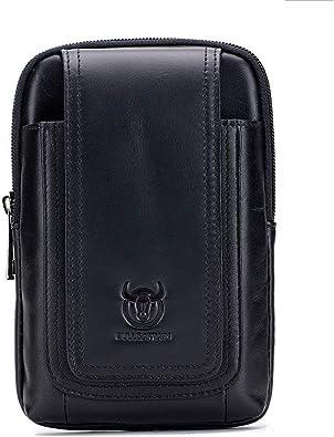 ESjasnyfall 10Waist Bag Men Theftproof Leather Pack Backbag Funcional Organizador de viaje Male Sling Bag Fashion Travel Crossbody Bag (Negro): Amazon.es: Zapatos y complementos