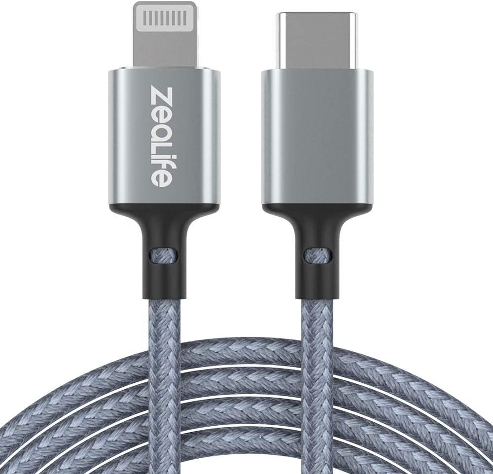 iPhone 12 Charger Cable, USB C to Lightning Cable Braided Cord for iPhone 12/11 Pro Max/X/XS/XR/8/8 Plus/AirPods Pro/iPad Pro/Air/Mini 5, [Apple MFi Certified], Supports Power Delivery (3.3ft/1m)